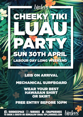 Cheeky Tiki Luau Party, Labour Day Long Weekend